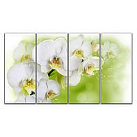 Модульная картина на стену для интерьера в спальню 4 в 1 IdeaX Нежные орхидеи на зеленом, 120х70 см
