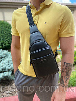 Мужская сумка слинг через плечо черная