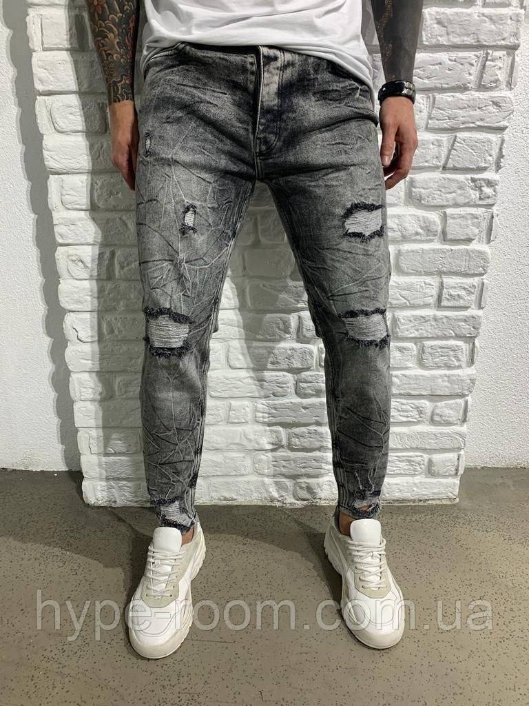 Чоловічі джинси темно-сірі потерті кращу якість Туреччина