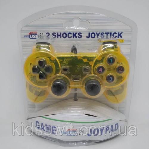 USB джойстик для ПК PC GamePad DualShock вібро Жовтий