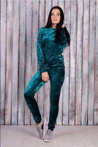 Ультрамодный велюровый женский спортивный костюм Л-ка изумрудный