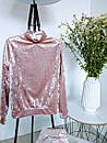 Ультрамодный велюровый женский спортивный костюм С-ка пудра пудренный розовый, фото 3