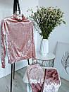 Ультрамодный велюровый женский спортивный костюм С-ка пудра пудренный розовый, фото 4
