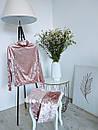 Ультрамодный велюровый женский спортивный костюм С-ка пудра пудренный розовый, фото 6