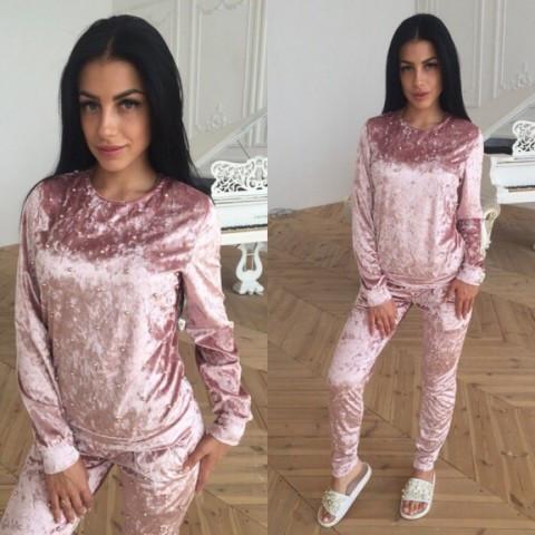 Ультрамодный велюровый женский спортивный костюм С-ка пудра пудренный розовый