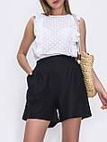 Льняные  шорты  с высокой посадкой и поясом на резинке  ЛЕТО, фото 8
