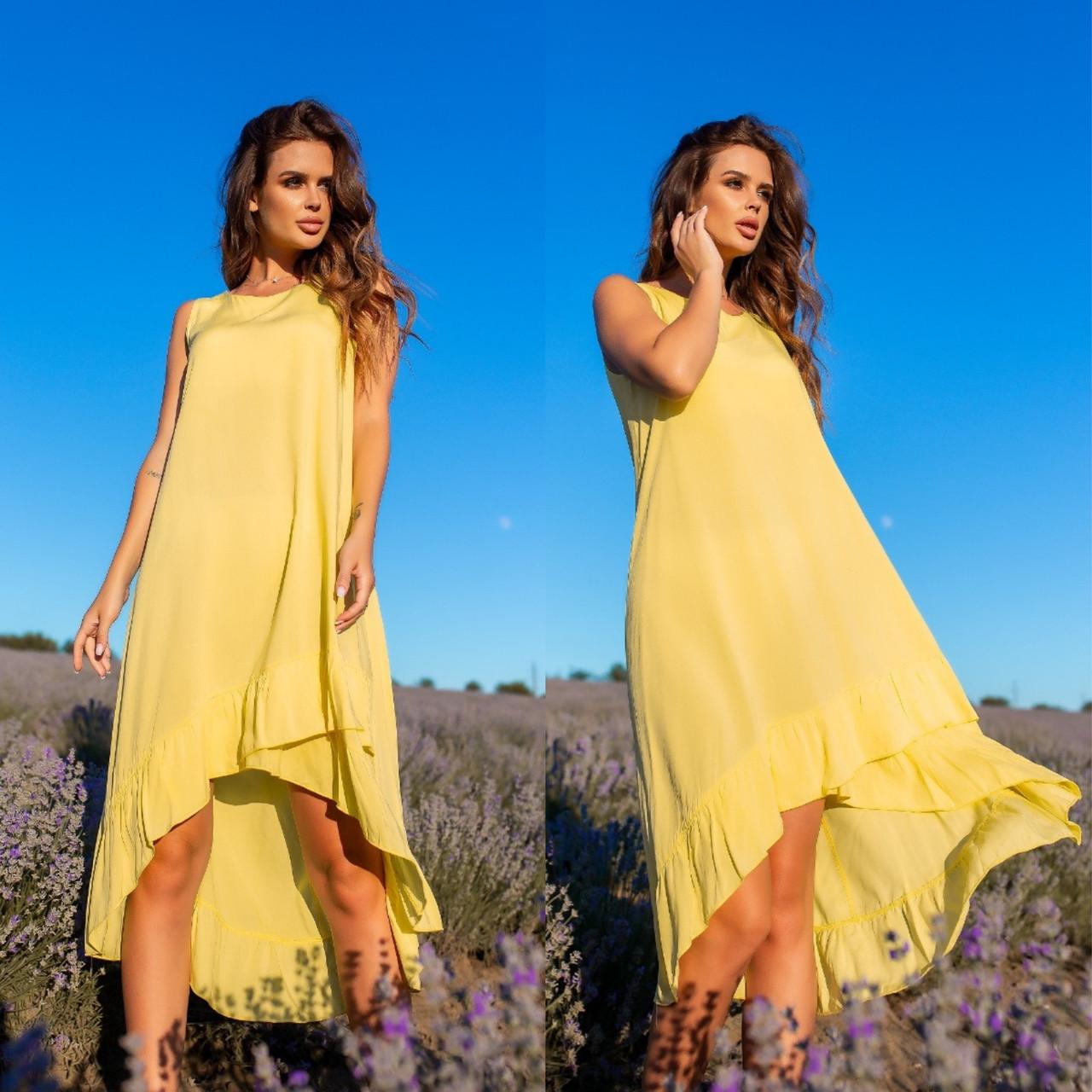 Яркий Красивый летний  женский сарафан желтого цвета с воланами из хлопка