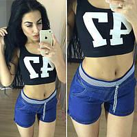 Стильные женские джинсовые шорты, синие, 505-568
