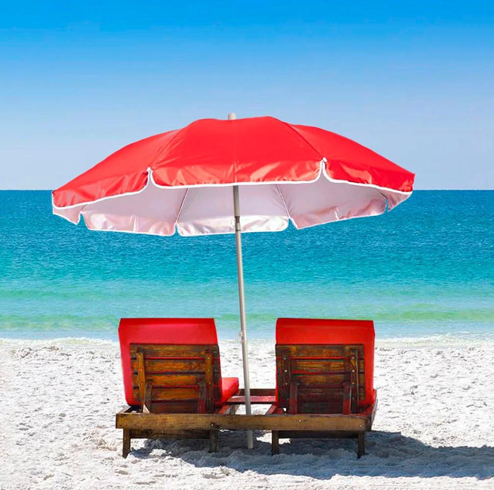Садової складаний парасолька з нахилом , червоний, великий пляжний парасолька від сонця з доставкою по Україні