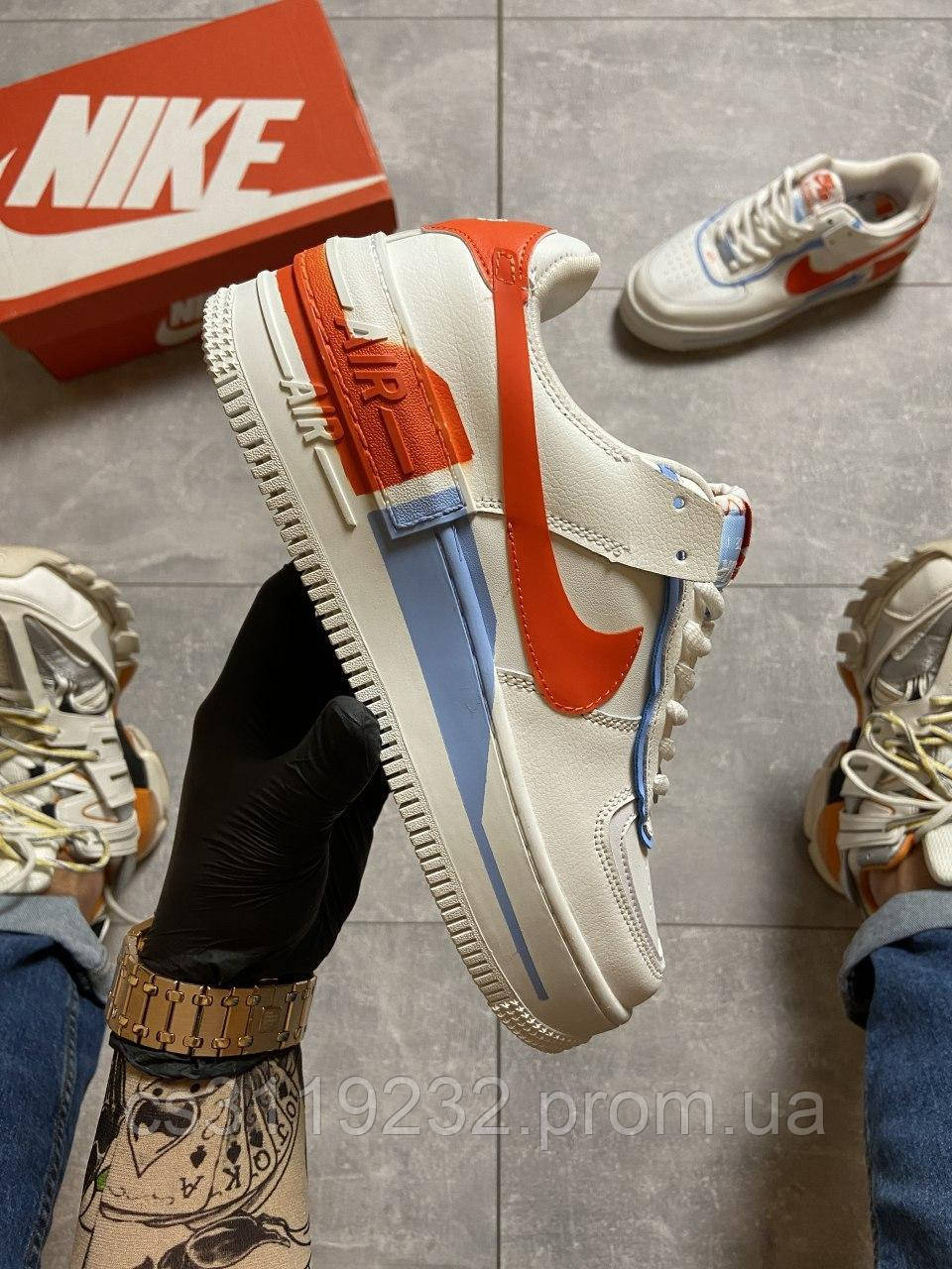 Женские кроссовки Nike  Air Force 1 Low White Red Blue (белые)