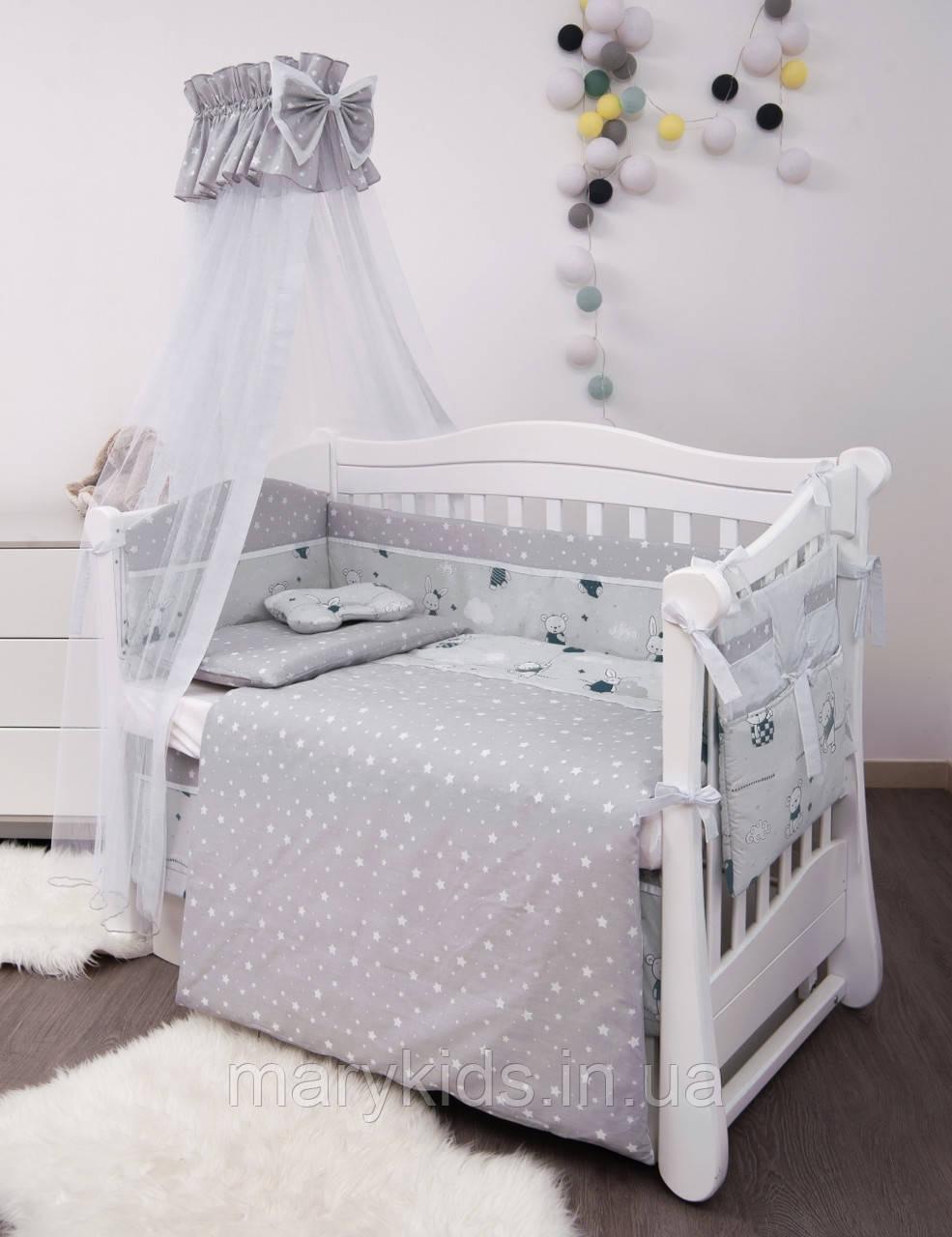 Дитяче ліжко Twins Modern 4040-P-102 Зайчики блакитні 8 елементів