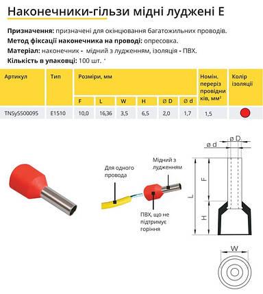 Наконечник гільза Е1510 1.5мм2 червоний TechnoSystems TNSy5500095, фото 2