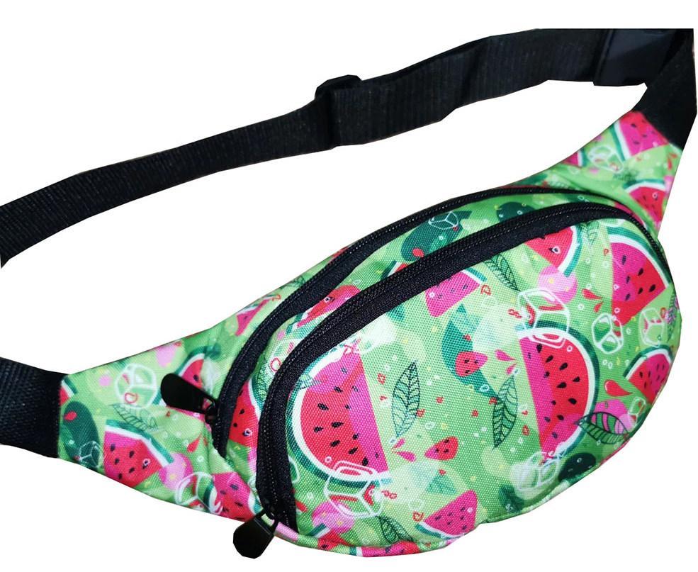 Молодежная поясная сумка из текстиля BR-S зеленая с принтом арбуз 1213697094