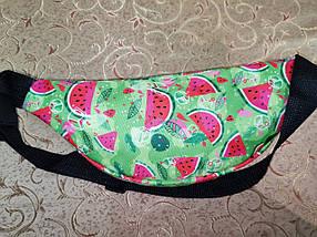 Молодежная поясная сумка из текстиля BR-S зеленая с принтом арбуз 1213697094, фото 3