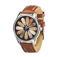 Годинник ZIZ Сови (ремінець кавово - шоколадний, срібло) + додатковий ремінець