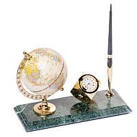 """Настольная подставка для ручки с часами и глобусом """"Экватор"""""""