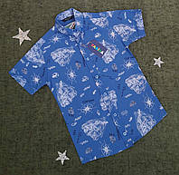 Сорочка з коротким рукавом і візерунком. на 9-12 років зростання, синя