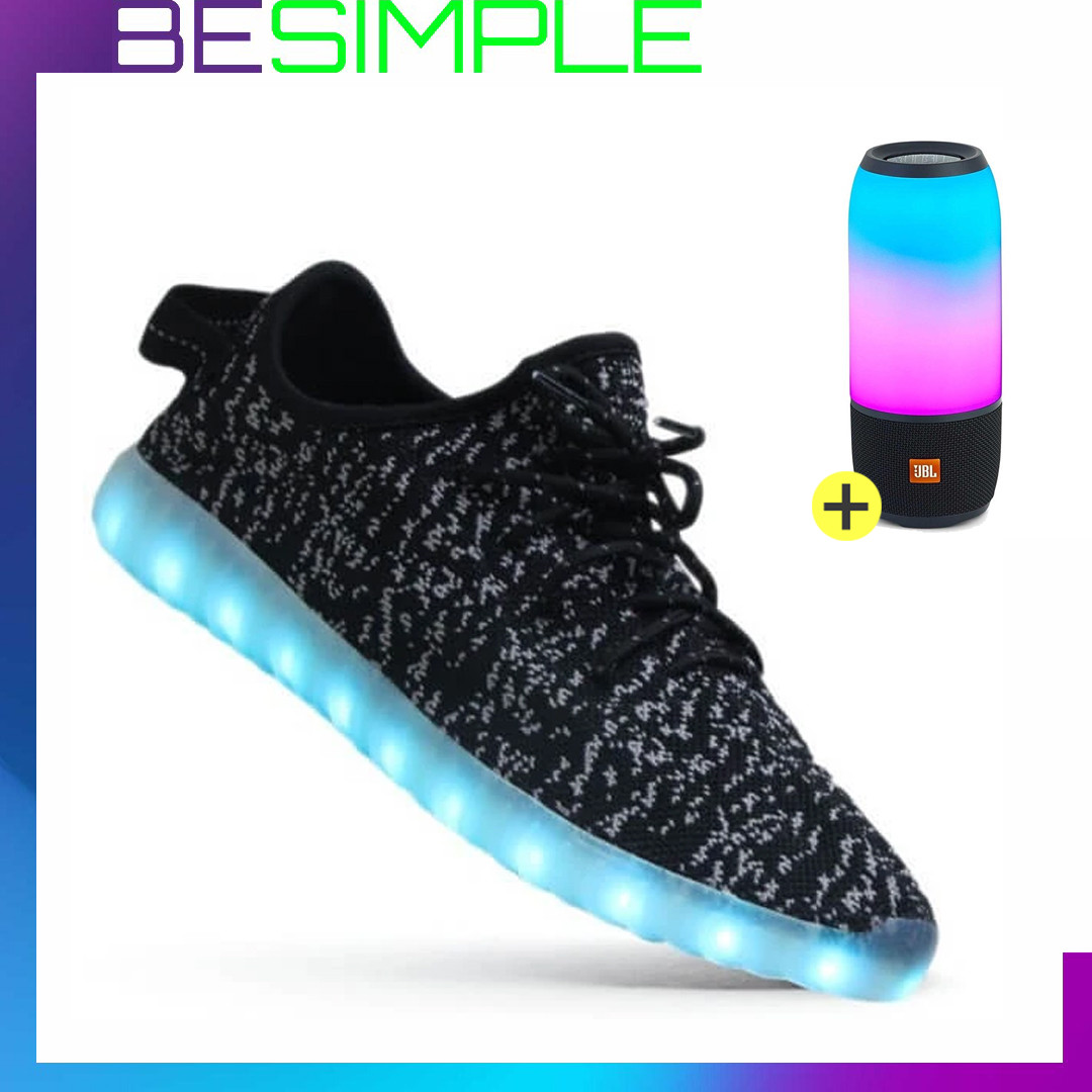 Кроссовки  Boost 350 LED, Адидас светящиеся + Подарок (Bluetooth колонка)