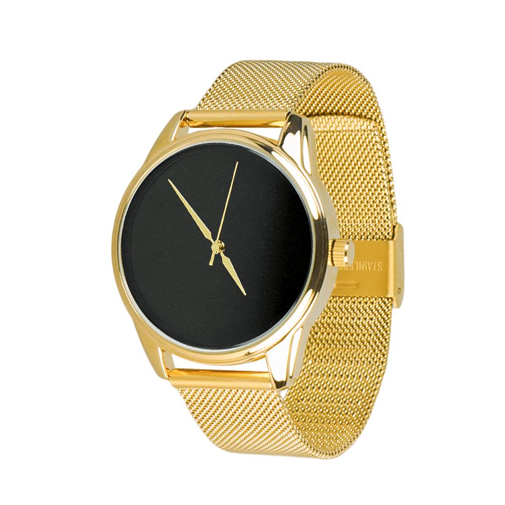 Часы ZIZ Минимализм черный (ремешок из нержавеющей стали золото) + дополнительный ремешок