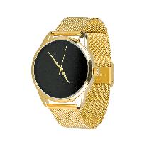 Часы ZIZ Минимализм черный (ремешок из нержавеющей стали золото) + дополнительный ремешок, фото 1