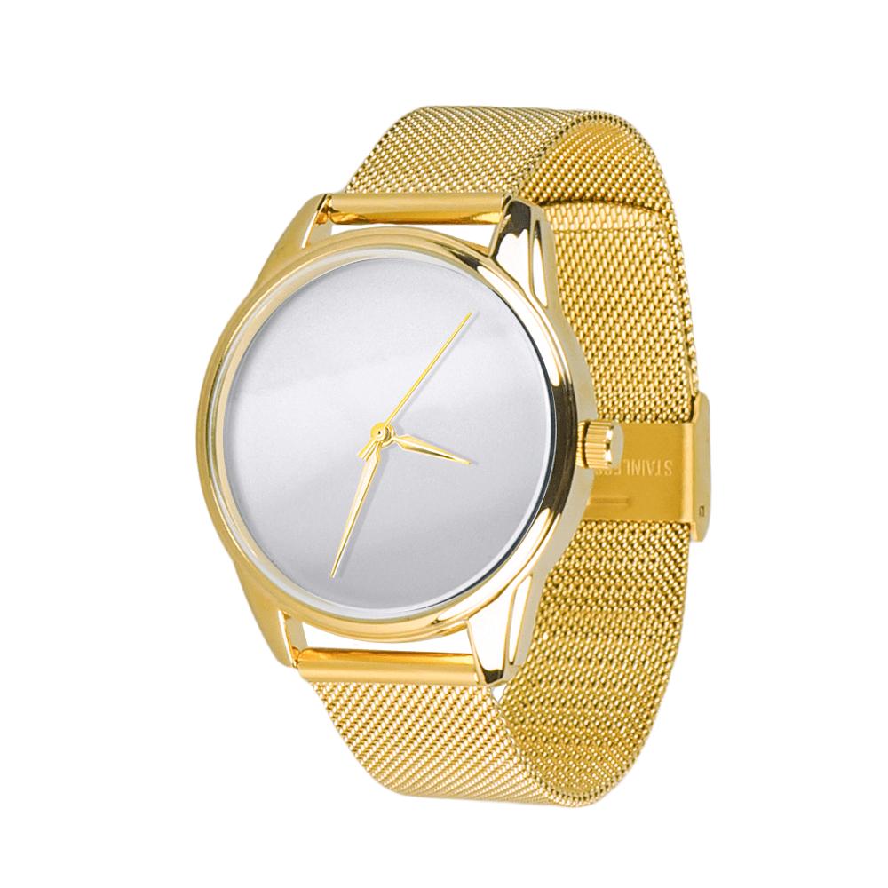 Часы ZIZ Минимализм (ремешок из нержавеющей стали золото) + дополнительный ремешок