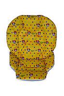 Чехол DavLu к стульчику для кормления Сhicco Polly 2 в 1 Минни Маус на желтом (Ch-042), фото 1