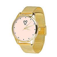 Часы ZIZ Сердечко (ремешок из нержавеющей стали золото) + дополнительный ремешок