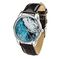 Годинник ZIZ Океанічна хвиля (ремінець насичено - чорний, срібло) + додатковий ремінець