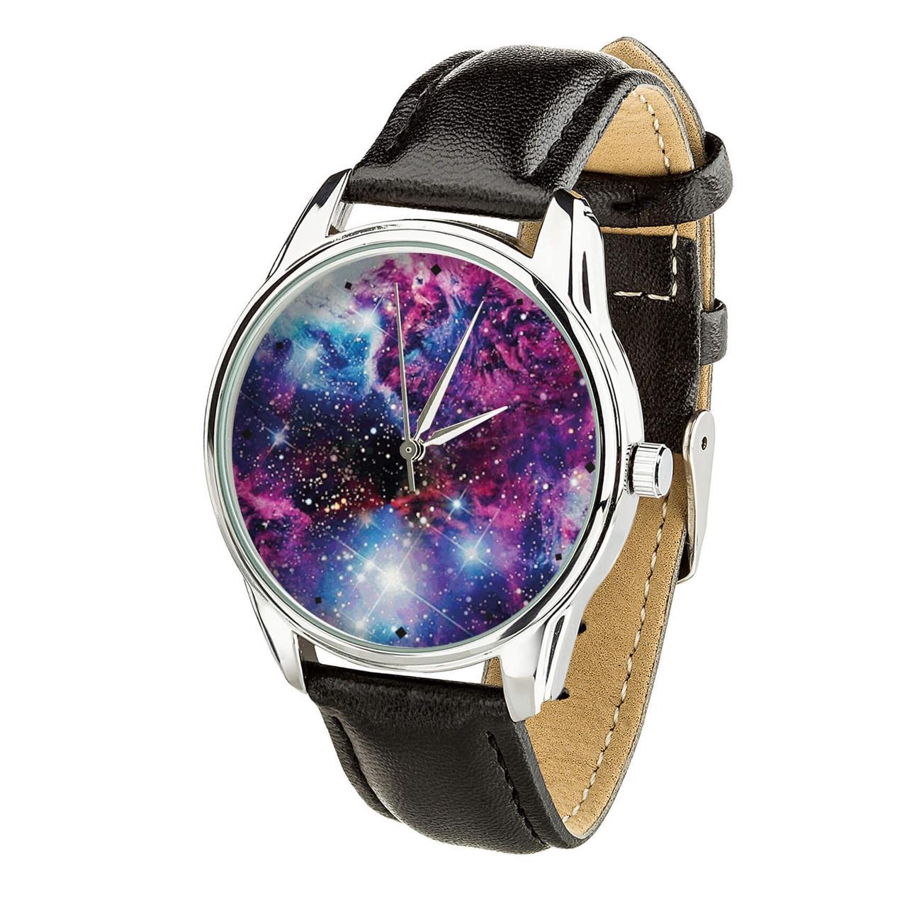 Часы ZIZ Галактика (ремешок насыщенно - черный, серебро) + дополнительный ремешок