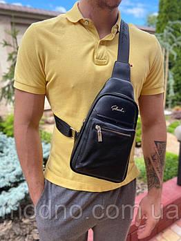 Мужская кожаная стильная нагрудная сумка слинг чёрная