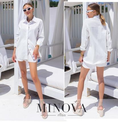Льняной костюм белый шорты и рубашка р. 42-44, 44-46, фото 2