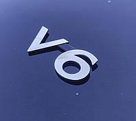 Эмблема V_6 на багажник 25*60 мм. Значок на крышку багажника