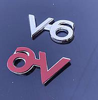 Эмблема V_6 на багажник 25*50 мм. Значок на крышку багажника
