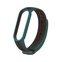 Сменный ремешок на фитнес браслет Xiaomi Mi Smart Band 5 Цвет - Темно-Зеленый