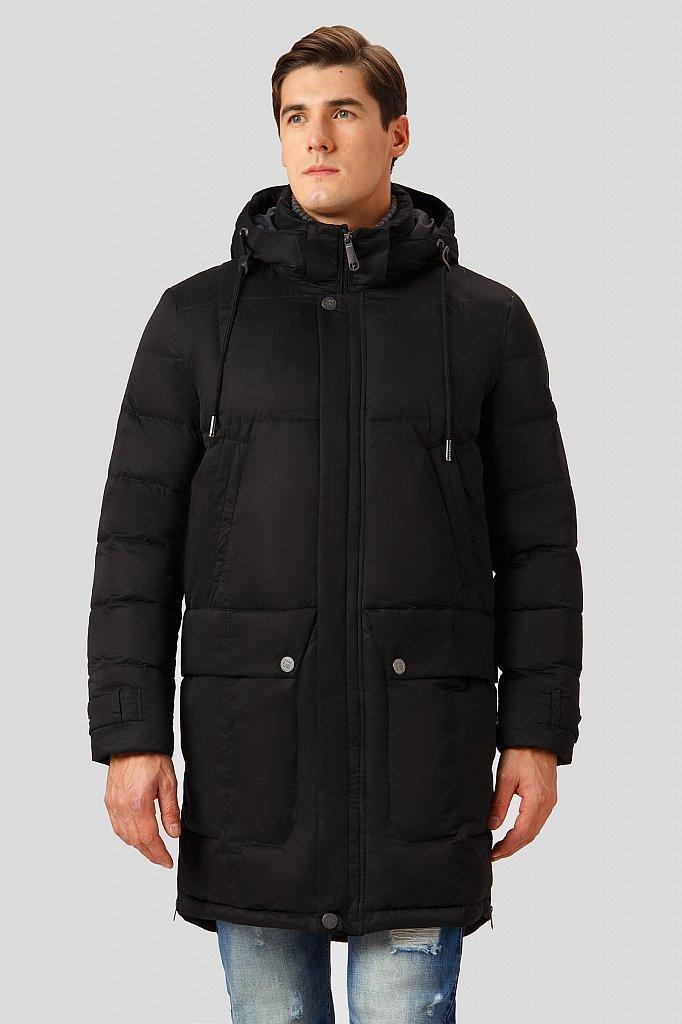 Чоловіче довге пальто пуховик з капюшоном чорне Finn Flare CW18-21007-200