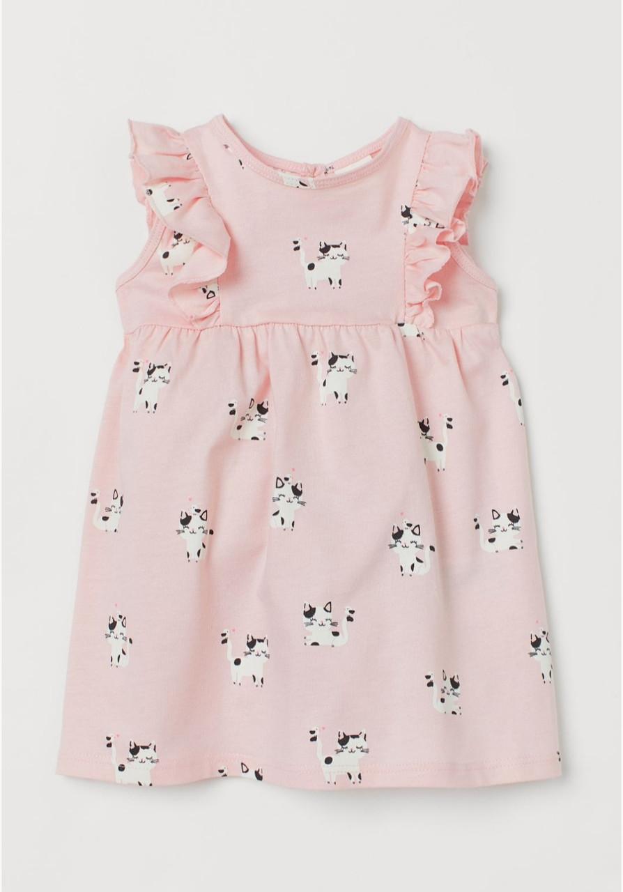 Платье для девочки розовое принт котиков H&M рост 86, 92, 98, 104см