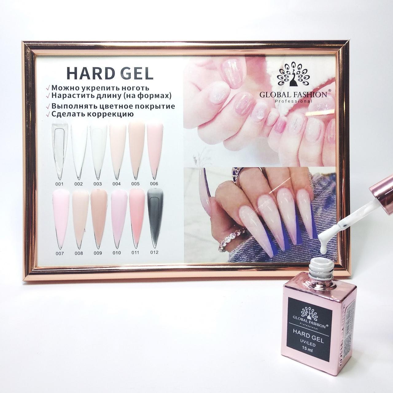 Гель для нарощування і зміцнення нігтів Global Fashion Gel Hard №02 білий