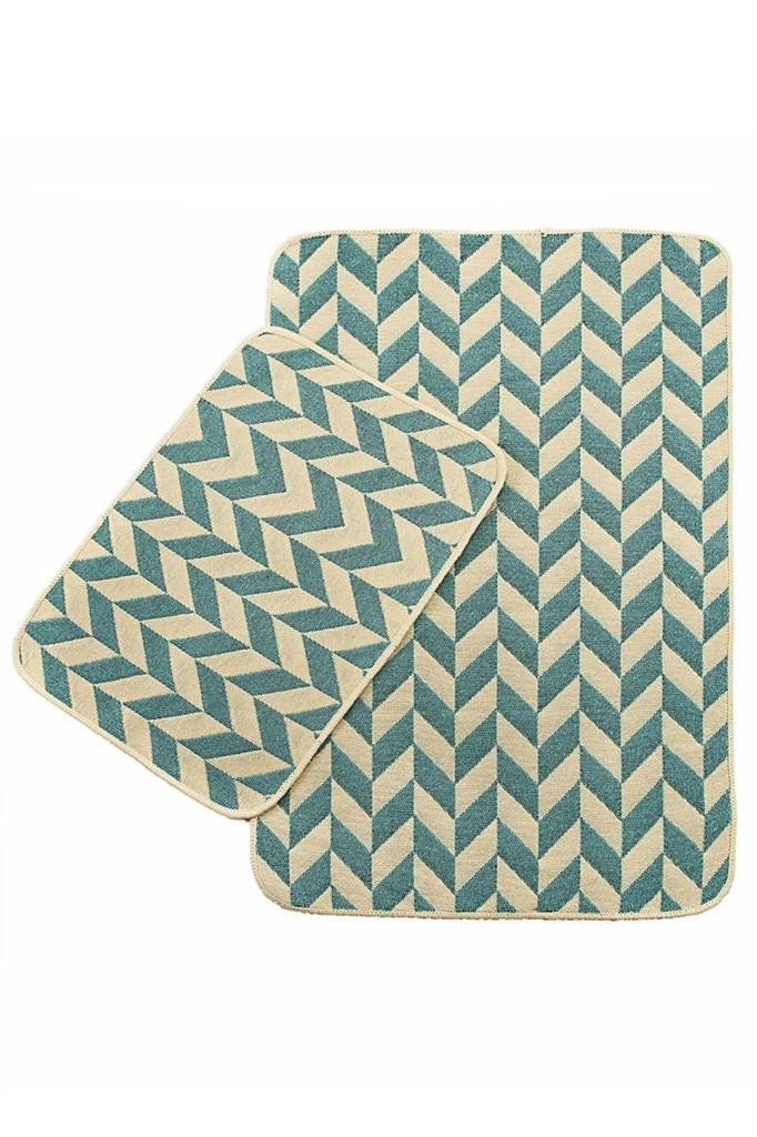 Набор ковриков в ванную комнату Solo 40x60, 60x90 см Mavi Zigzag (501OSKMZG3159)