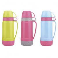 Термос 600 мл со стеклянной колбой и 2 пластиковыми чашками (розовый с салатовым,серым,голубым) Kamille 2076 + Бонус