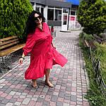 Платье красное хлопок, оверсайз Бохо. 48-56, фото 6