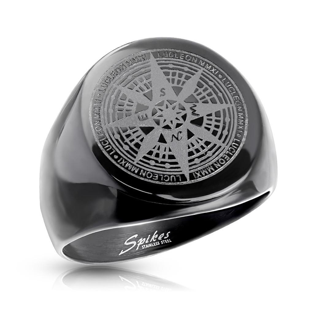 Черное кольцо роза ветров нержавеющая сталь 316L Spikes