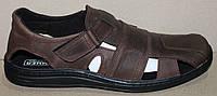 Босоножки коричневые кожаные туфли на липучке от производителя модель АМЛ105Р