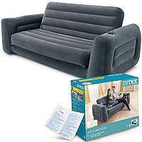 Надувной раскладной диван Intex 66552 (203х224х66 см) Серый