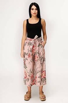 / Размер 44,46,50 / Женские брюки клешеные из льна Б-2045 / цвет розово-коричневый