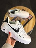 Кроссовки Nike Air Force 1 Low TM White (Белые низкие Найк Аир Форс мужские и женские 36-45 венса/осень)