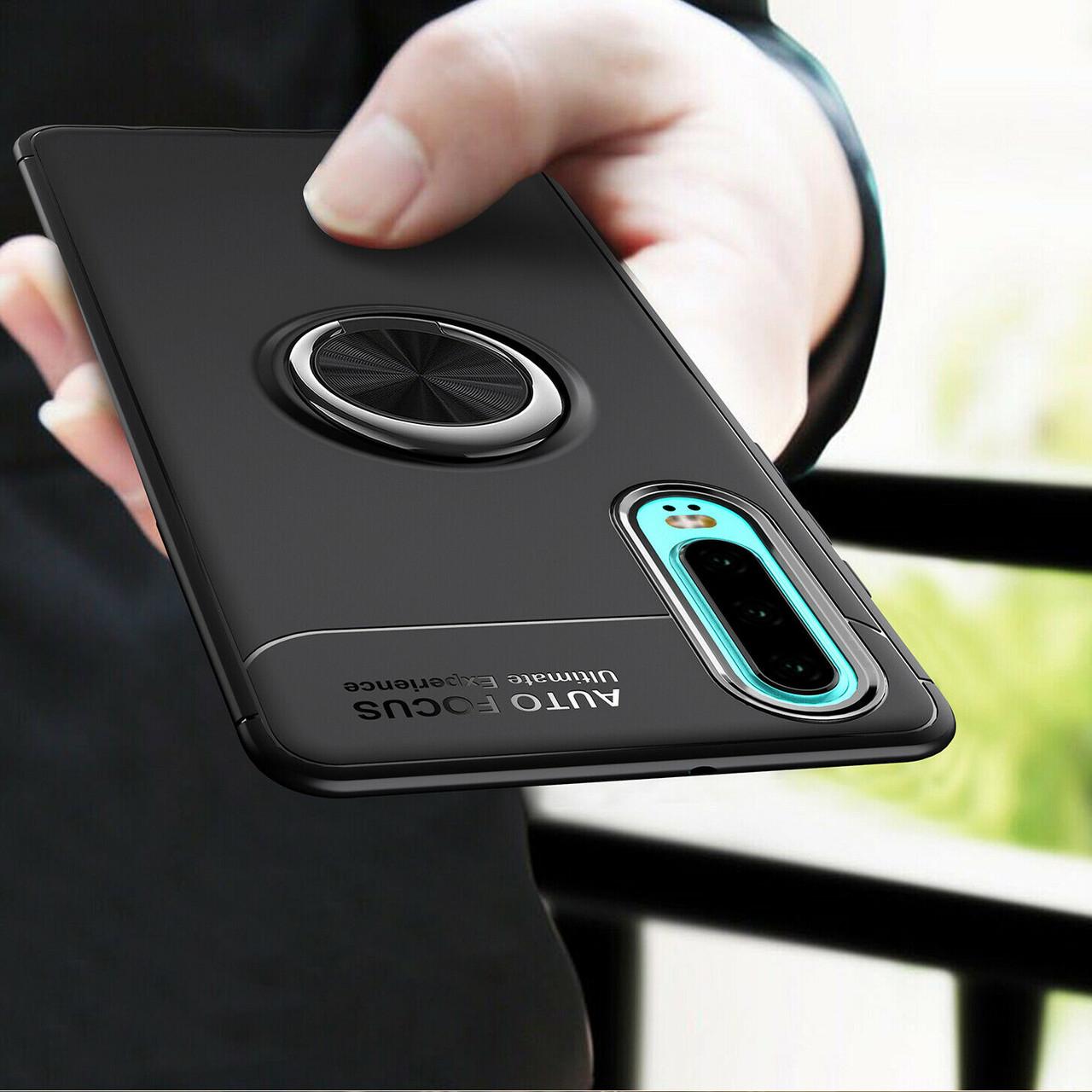 TPU чехол Deen ColorRing под магнитный держатель для Huawei P30 Черный