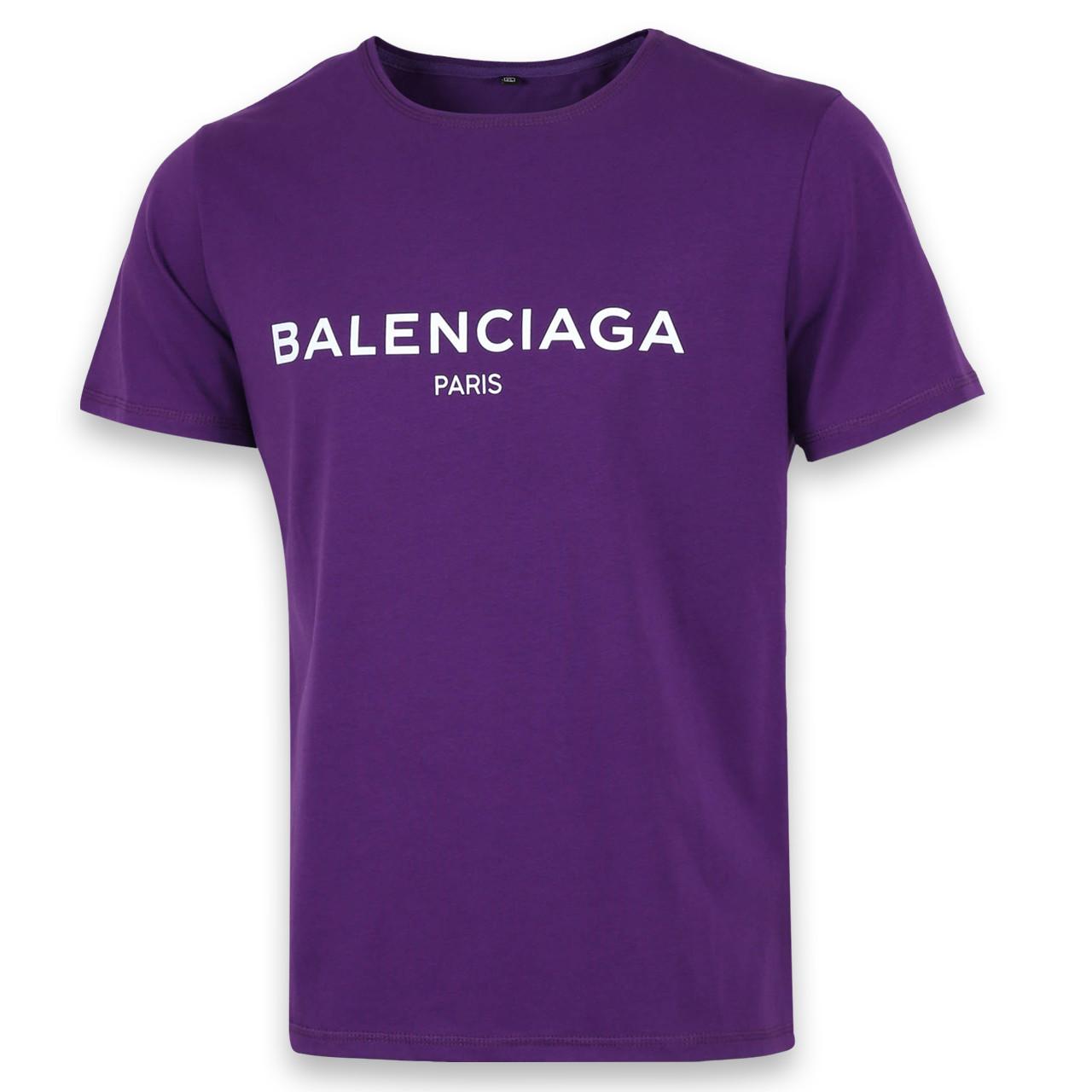 Футболка мужская фиолетовая с принтом BALENCIAGA Ф-10 PUR L(Р) 19-646-020