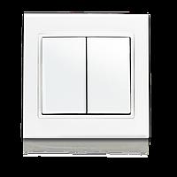 Двоклавішний вимикач з підсвіткою, білий, Theme, Erste electric