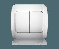 Вимикач двоклавішний, білий, Classic, Erste electric