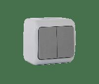Вимикач двоклавішний зовнішнього монтажу вологозахищений IP 54, колір сірий, Outdoor, Erste electric